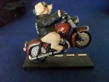Pig / Hog on Motorcycle Resin Wheelie Paperweight Decoration Statue Figurine
