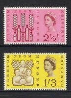 GB 1963 sg634-5 Freedom From Hunger ordinary set MNH