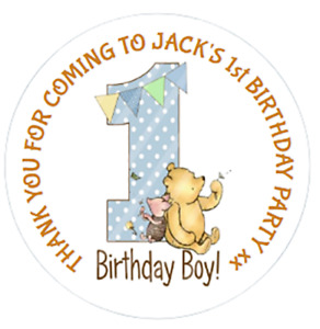 24 Personalised 1st Birthday party bag stickers Winnie The Pooh  Blue Pink 40mm