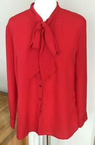 True Vintage Scarlet Pussy Bow Pleat Bodice Long Sleeve Blouse Ladies UK14