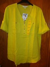 Company Ellen Tracy Ladies Limeade Roll Tab Linen Tunic Size: M  NWT