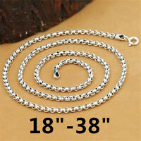 925 Sterling Silver Rolo Rollo Chain Necklace Belcher Chain Spring Clasp 3mm