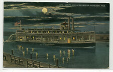 Paddle Steamer Moonlight Excursion Oshkosh Wisconsin 1915 postcard