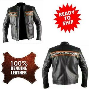 Men's Bill Goldberg Harley Davidson WWE Black Real Leather Motorcycle Jacket