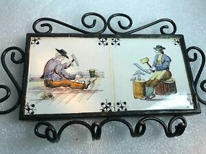 VINTAGE Ornate wrought IRON FRAME KEY HOLDER ~ DELFT TILES(2)craftsman
