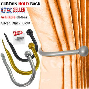 LARGE STYLISH CURTAIN HOLD BACK Metal Tie Tassel Arm Hook Loop Holder U Shape