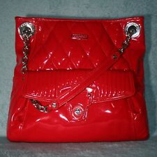 Coach Liquid Glass Quilted Slim Patent Leather Cherry Red Tote 18673 Never Used
