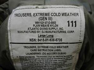 US ARMY ISSUE EXTREME COLD WEATHER PANTS GEN III PRIMALOFT LEVEL 7 TROUSER PCU