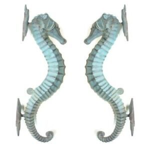 "2 seahorse DOOR PULLS 30cm seaside green brass  old style house handle 12""B"