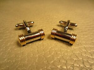 Contemporary Yellow Tipped Barrel White Gold Plated Cuff Links (Silver Tone)