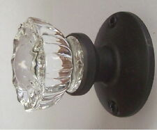 3 Fluted Crystal Glass & Oil Rubbed Bronze Faux / French / Dummy Door Knob Sets