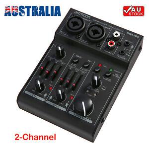 Mini 2-Channel Sound Card Mixing Console Digital Audio Mixer 2-band EQ