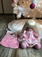 PRECIOUS MOMENTS A Christmas To Cherish Doll W/ Pink Stocking & Tag #1228