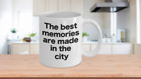 City Mug White Coffee Cup Funny Gift for Vacation and Life in the City Downtown