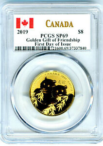 2019 $8 CANADA GILT SILVER PCGS SP69 GOLDEN PANDA FIRST DAY OF ISSUE TOP POP