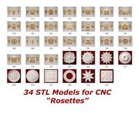 """34 3d STL Models - """"Rosette Collection"""" for CNC relief artcam 3d printer aspire"""