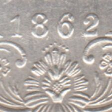 BRITISH INDIA 1862 VICTORIA QUEEN 0/7 DOT VARIETY ONE RUPEE SILVER COIN
