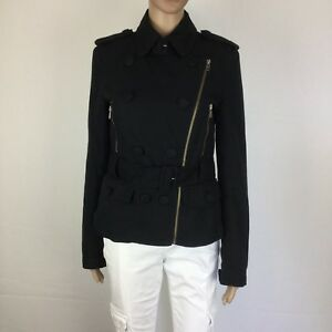 French Connection Black Double Breasted Waist Length Jacket Size 8 (BE12)