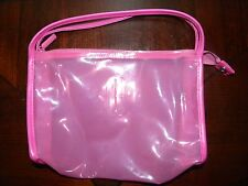 Vtg Clinique Make Up Bag Waterproof Hot Pink Clear Plastic Cosmetic Case Zipper