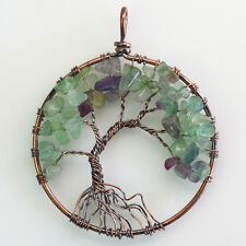 Natural Fluorite Chip Beads Tree of Life Wire Wrap Chakras Round Copper Pendant