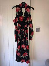 Lipsy Size 6 Black Floral Open Back Dress BNWT