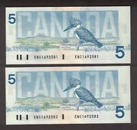 2 CONSECUTIVE CANADA 1986 $5 CROW BOUEY BANKNOTES SERIAL ENG1692581 582 GEM UNC