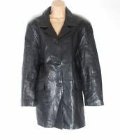 Women's Vintage SAKI Fitted Black 100% Genuine Leather Jacket Coat Size UK18
