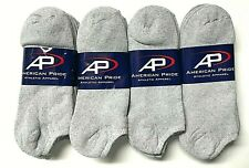 6 /12 Pair Men's Solid Gray Cushioned Work /Sport Low Cut Sock Size 10-13.