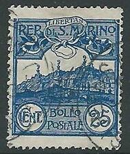 1903 SAN MARINO USATO VEDUTA 25 CENT - M5-5