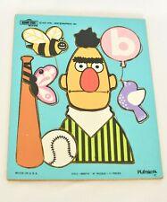 Vtg 1973 Muppets Bert letter B Sesame Street wood Frame Playskool tray puzzle