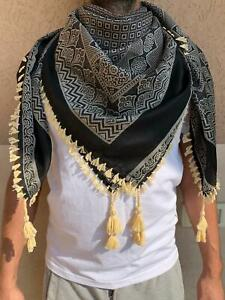 A cotton scarf and a warm in black and white colors 2021 -kafya