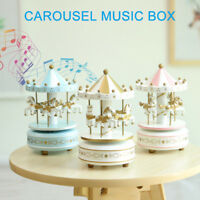 1Pcs Romantic Wooden Carousel Horse Music Box Toy Kids Gifts Artistic Home Decor