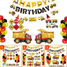 44/51/57Pcs Construction Birthday Party Supplies Truck Dump Digger Balloon Decor