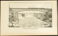 1892 - Gravure chutes du Niagara : Pont suspendu et pont du Michigan-Central
