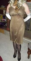 USA 36 VinTage Brown Full Slip Lace Bodice & Scallop Hem Painted Metal Sliders