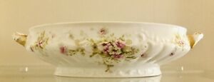 """Theodore Haviland Limoges France Pink & White Floral 9"""" Oval Footed Serving Dish"""