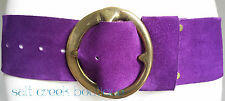 Vintage B-LOW the Belt WIDE Purple Suede Leather BOHO Chic HIPPIE Brass Buckle