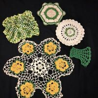Vintage Hand Crocheted Doilies Potholders Lot of 5  Greens and Gold Floral 14""