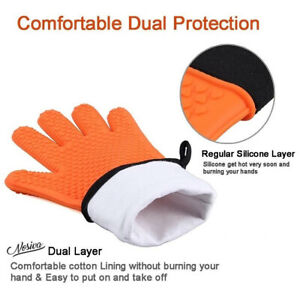 JR silicone oven BARBECUE glove with soft cotton lining in 8 colours (UK SELLER)