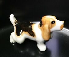 Dog Ceramic Tiny Pet Animal Figurine Basset Hound Hand Painted Gift Collectible