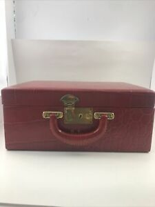 Vintage 1940-50's Shortrip Croc Red Leather Train Cosmetic Jewelry Travel Case