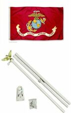 3x5 U.S. EGA Marine Marines USMC Flag w/ 6' Ft White Flagpole Flag Pole kit