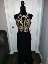 NWT Nightway Formal Dress Black Gold size 12P