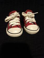 Converse All Star Chuck Taylor Toddler Girls Pink Glitter Shoes 2 toddler used