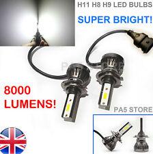 2x H11 H8 Headlight LED Bulbs 8000 Lumens Bright XENON White 6000K Light Car 12V