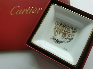 Cartier Limoges White Panther Porcelain Mini Dish Tray CRCRM00329
