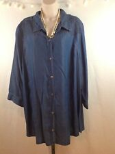 Blue Jean Shirt Blouse 3X adjustable sleeves embroidered Shoulders Western Style