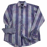 BUGATCHI UOMO Men's Button Front Dress Shirt Size Medium Multi Purple Flip Cuff