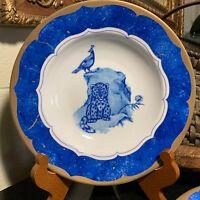 "Lynn Chase Leopard Lazuli 9"" Rim Soup Bowl Czech Republic MINT - 10 Available."