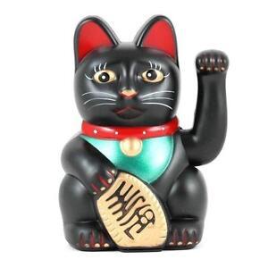 """LUCKY BECKONING CAT 5"""" and 6"""" Waving Kitty Maneki Neko Gold White Black Wealth"""